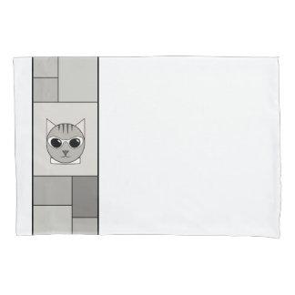Fronha de almofada cinzenta do gato malhado com