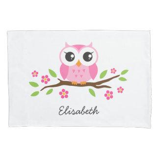Fronha de almofada cor-de-rosa da coruja