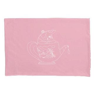 Fronha de almofada - rosa - tempo do chá
