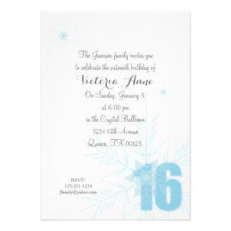 FROZEN sweet sixteen WINTER SNOWFLAKE invitation