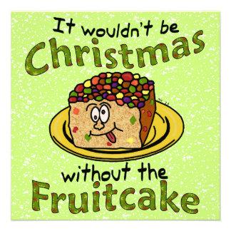 Fruitcake engraçado dos desenhos animados do Natal Convites