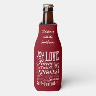 Fruta da alegria do amor do Natal da tipografia do Porta-garrafa