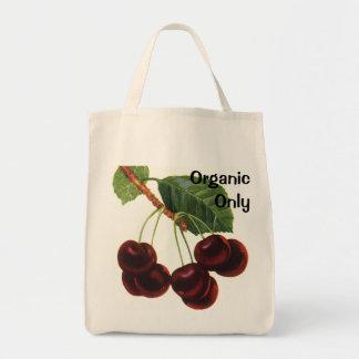 Fruta da comida do vintage, cerejas em um ramo sacola tote de mercado