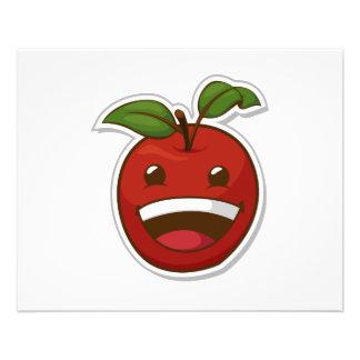 Fruta engraçada com expressão - Apple Panfletos