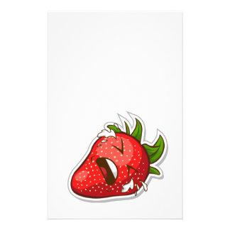 Fruta engraçada com expressão - morango modelo de panfleto