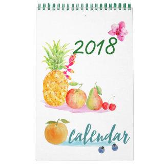 Fruta mensal da aguarela do calendário 2018