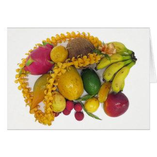 Fruta tropical e leus cartão
