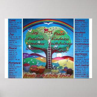 Frutas do poster do espírito com versos