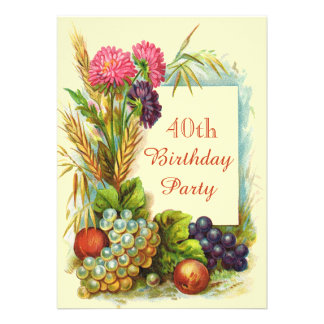 Frutas flores coloridas do aniversário de 40 ano