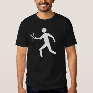Funcionamento com tesouras camiseta