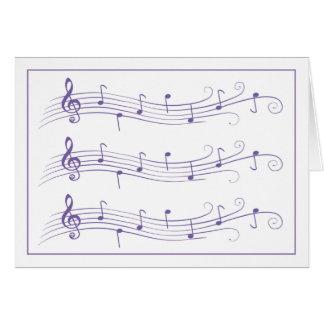 Funcionarios enrolados roxos da música no cartão