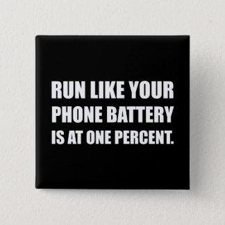 Funcione como a bateria do telefone um por cento bóton quadrado 5.08cm