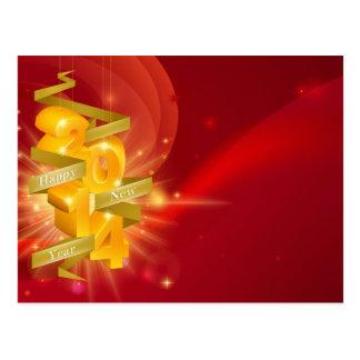 Fundo 2014 vermelho do feliz ano novo cartões postais