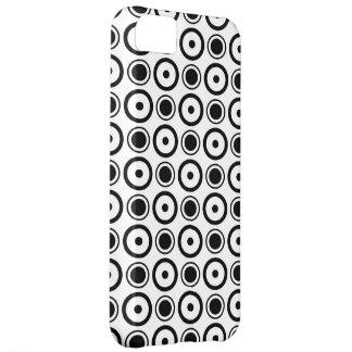 Fundo à moda preto branco do branco das bolinhas capa para iPhone 5C