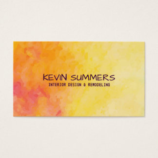 Fundo abstrato amarelo & da laranja das aguarelas cartão de visitas