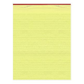 Fundo alinhado amarelo do papel de escola cartão postal