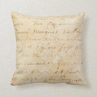 fundo antigo francês do roteiro do vintage dos travesseiro de decoração