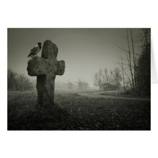 Fundo assustador para o Dia das Bruxas. Sepultura Cartão Comemorativo