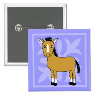 Fundo bonito do cavalo bonito dos desenhos animado bóton quadrado 5.08cm
