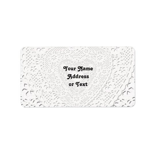 Fundo branco do tecido do laço do falso etiqueta de endereço