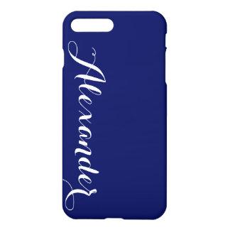 Fundo contínuo dos azuis marinhos, monograma capa iPhone 7 plus