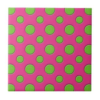 Fundo cor-de-rosa das bolinhas verdes Funky retros