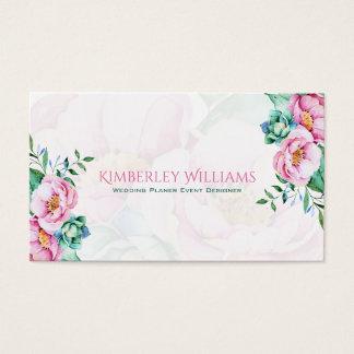 Fundo cor-de-rosa do branco do buquê dos rosas cartão de visitas