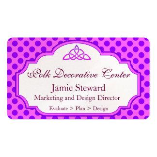 Fundo cor-de-rosa e roxo das bolinhas, molde cartão de visita
