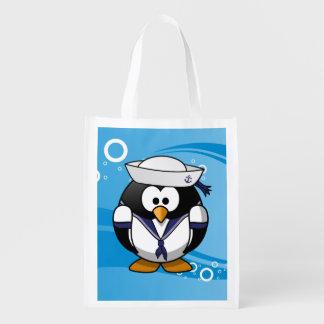 Fundo da água do pinguim do marinheiro sacola ecológica
