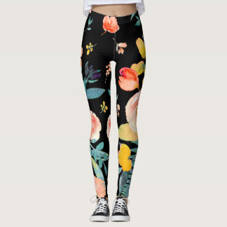 Fundo da aguarela Flowers/DIY de PixDezines Leggings