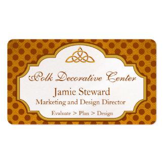 Fundo das bolinhas de Brown e de ouro, molde Cartão De Visita