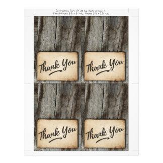 fundo de madeira, cartões de agradecimentos do