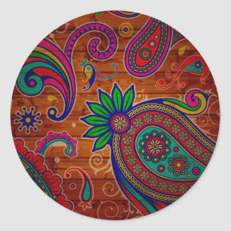 Fundo de madeira colorido floral da textura do adesivo