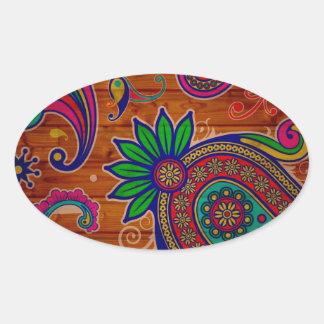 Fundo de madeira colorido floral da textura do adesivo oval