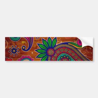 Fundo de madeira colorido floral da textura do adesivo para carro