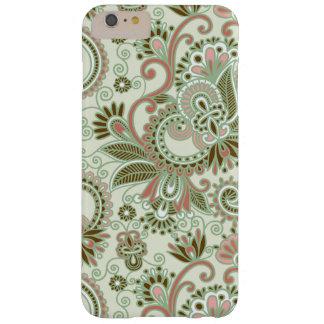 Fundo de Paisley, redemoinhos - rosa verde Capa Barely There Para iPhone 6 Plus
