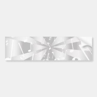 Fundo de prata das notas musicais adesivo de para-choque