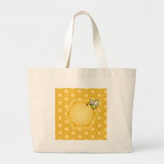 Fundo do favo de mel com uma abelha bonito sacola tote jumbo