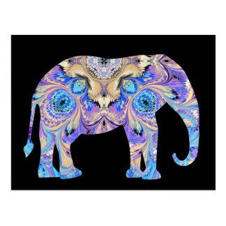 Fundo do preto do cartão do elefante do