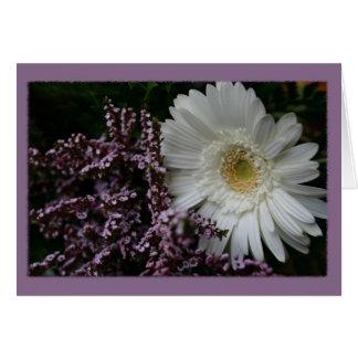 Fundo do roxo da flor branca cartão comemorativo