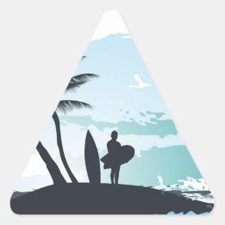 Fundo do surfista do verão da palma adesivo triangular