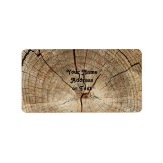 Fundo dos anéis de árvore do falso etiqueta de endereço