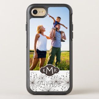 Fundo floral retro da foto & do monograma capa para iPhone 7 OtterBox symmetry