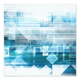 Fundo futurista com abstrato da tecnologia convite quadrado 13.35 x 13.35cm