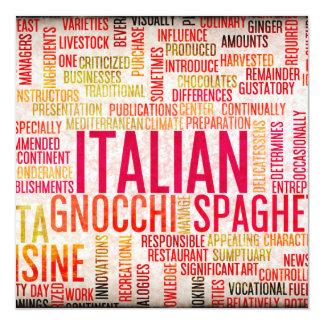 Fundo italiano do menu da comida e da culinária convite quadrado 13.35 x 13.35cm