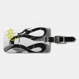 Fundo japonês preto do branco do dragão etiqueta de bagagem