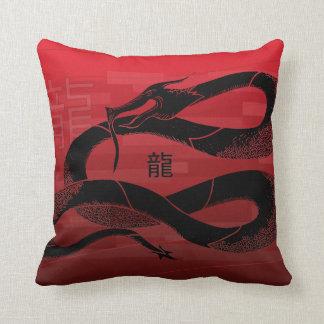 Fundo japonês preto do vermelho do dragão travesseiro