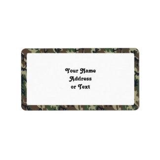 Fundo militar da camuflagem da floresta etiqueta de endereço