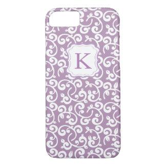 Fundo Pastel da aguarela do monograma feminino Capa iPhone 7