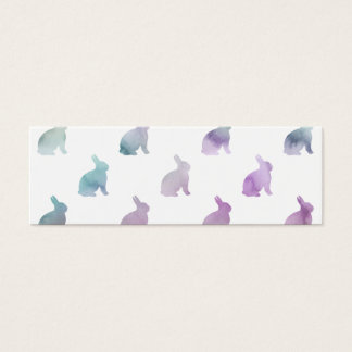 Fundo Pastel roxo azul do coelho da aguarela Cartão De Visitas Mini